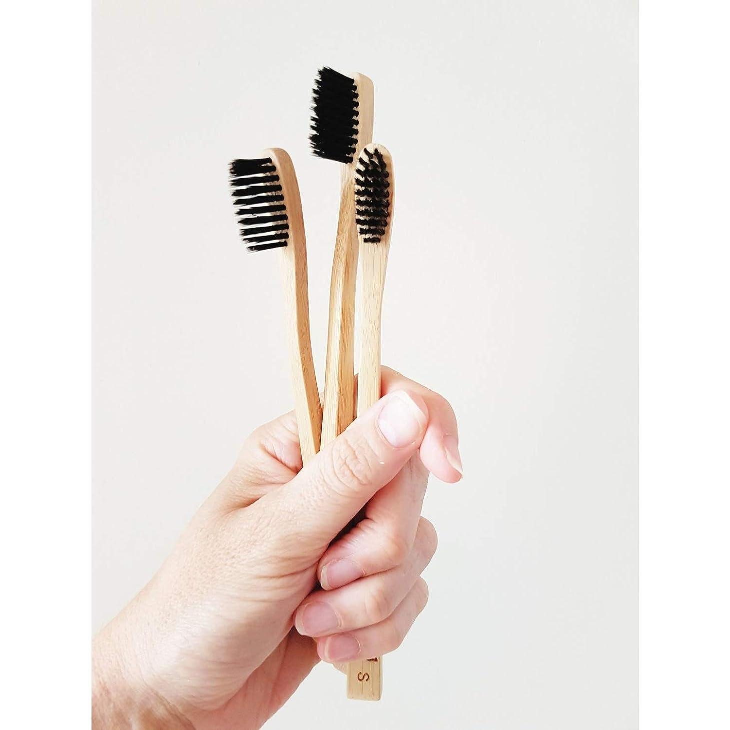 シェトランド諸島曲げる意志Ladybug 竹の歯ブラシ 竹炭毛 バンブー歯ブラシ (3本入りセット)