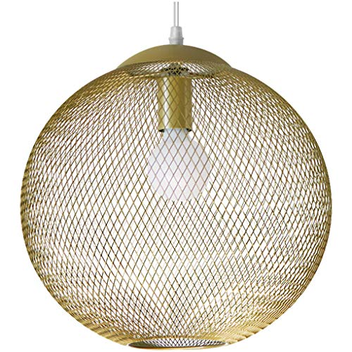 Retro hanglamp kooi hanglamp eettafel hanglamp vintage rond mesh eetkamerlamp in hoogte verstelbaar woonkamer lamp metaal keuken kinderen kantoor plafond E27 lamp bal kroonluchter Ø30 cm