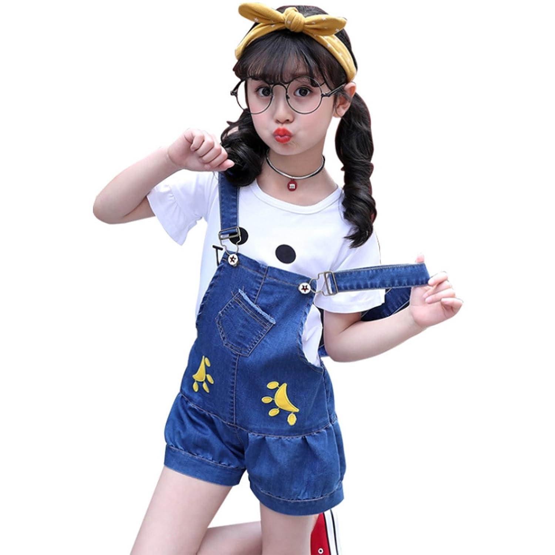 ALKAQ 女の子 デニムパンツ オーバーオール ロンパース サロペット 子ども用 ジーンズ 夏 カジュアル 短スボン