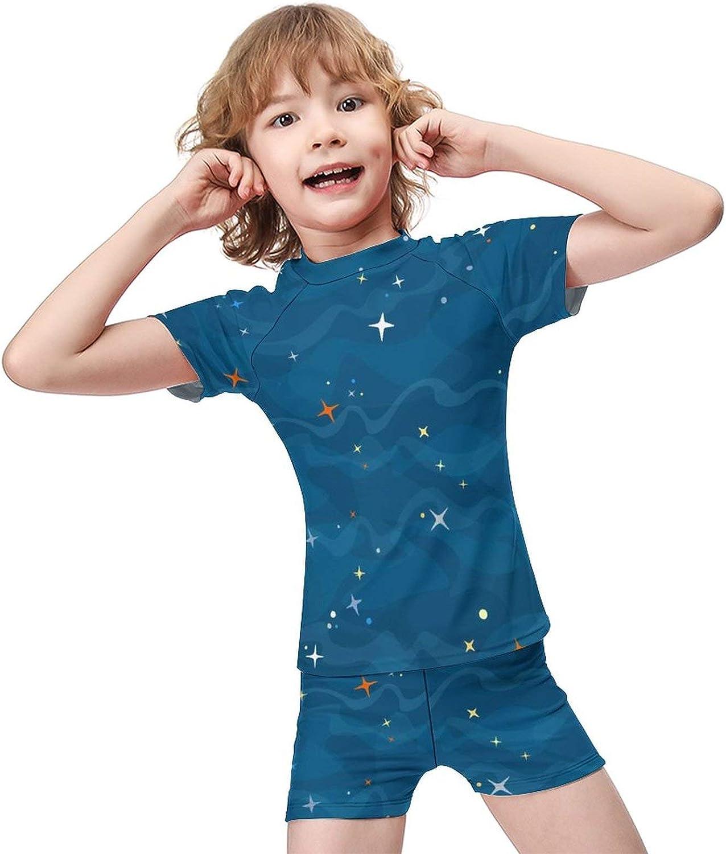 Yiaoflying Kids Boys 2 Piece Swimwear Set - Cartoon Blue GalaxyRash Guard Swimsuit Trunks