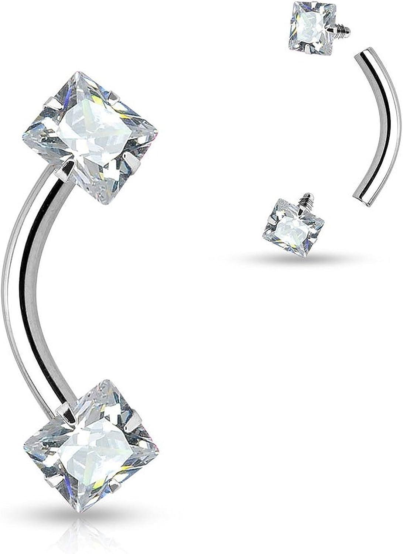 16g Semi Precious Stone Rook Jewelry Daith Earring Eyebrow Ring Internally Threaded Black Onyx Rook Earring Prong Set Curved Barbell