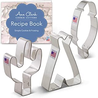 Ann Clark Cookie Cutters 3-Piece American Southwest Cookie Cutter Set with Recipe Booklet, Cactus, Teepee, and Feather