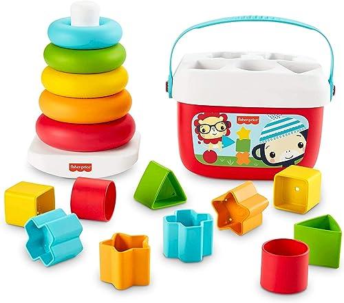 Fisher-Price Mes Premiers Blocs et Pyramide Arc-en-Ciel, jouets bébés en matériau d'origine végétale pour trier et em...