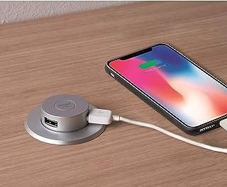 IPEA GWWUF23 Elegante Caricatore USB da Tavolo o Scrivania a Incasso Con Pop-Up – Premi e Connetti-Doppia Porta per Carica...