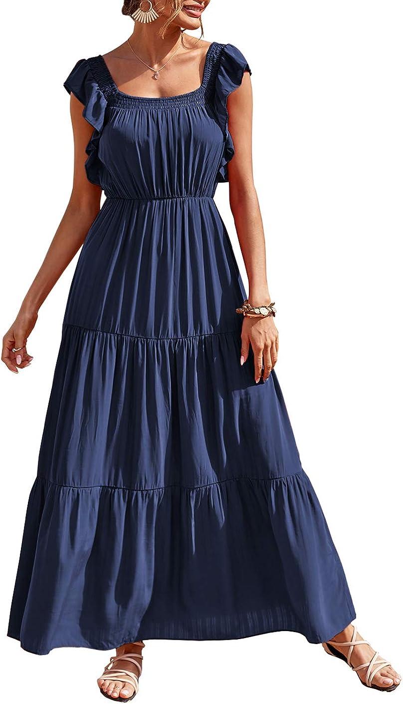 PRETTYGARDEN Women's Bohemian Sleeveless Maxi Dress Square Neck Backless Boho Ruffle Hem Long Dress