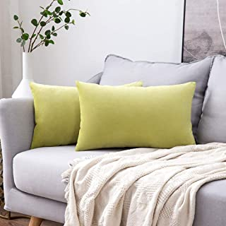 MIULEE Pack of 2 Velvet Pillow Covers Decorative Square Pillowcase Soft Solid Cushion Case for Sofa Bedroom Car 12 x 20 Inch Chartreuse Green