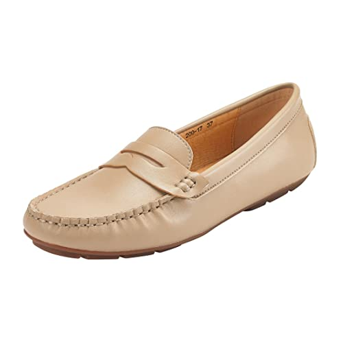 JENN ARDOR Penny Loafers for Women: Vegan Leather Slip-On Comfortable Driving Moccasins Flats
