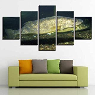 5 Panels Canvas Prints Striped bass Hotel Cafe Paintings on Stretched and Framed Canvas Wall Pictures Artwork Living Room for Home Decor Gift(No Frame)