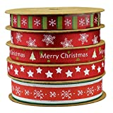Fowod Christmas Ribbon,Mixed 0.39 inch and 0.59 inch, 16 feet Each roll (Red)