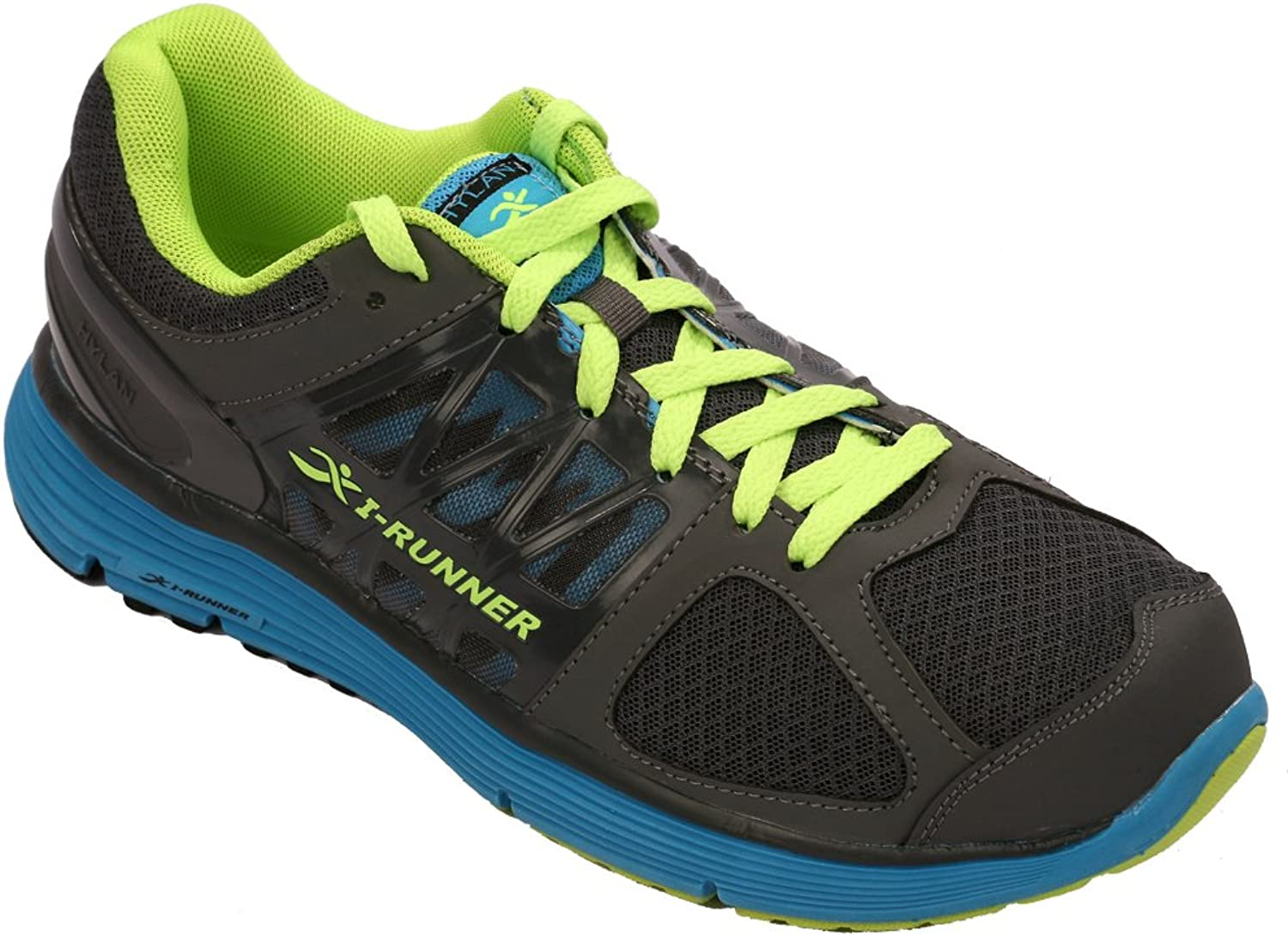 HyLan iRunner Ross Men's Therapeutic Athletic Extra Depth shoes  Grey bluee Green 11.5 X-Wide (4E) Lace