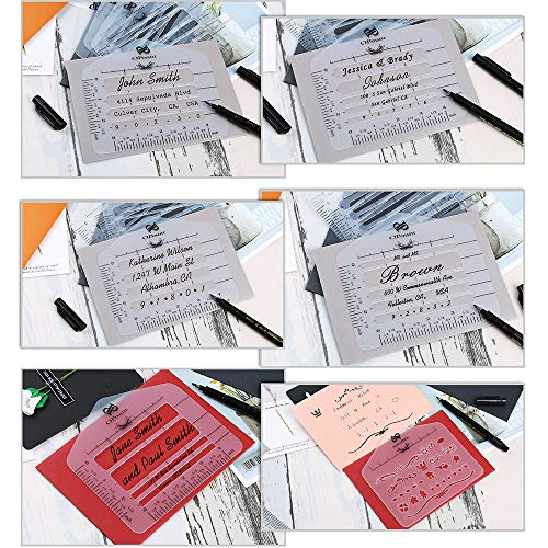 PP OPOUNT 12 Pcs Envelope Addressing Guide 10 Style Envelope Addressing Guide Stencil Templates, 1 Style Mixed Pattern Stencils with Zipper Pouch Fits Wide Range of Envelopes, Sewing, Thank You Card