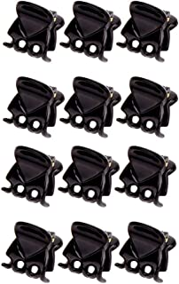 CCINEE Mini Plastic Hair Clips,Small Catch Clips Used for Hair Decoration-12Pieces (Black)