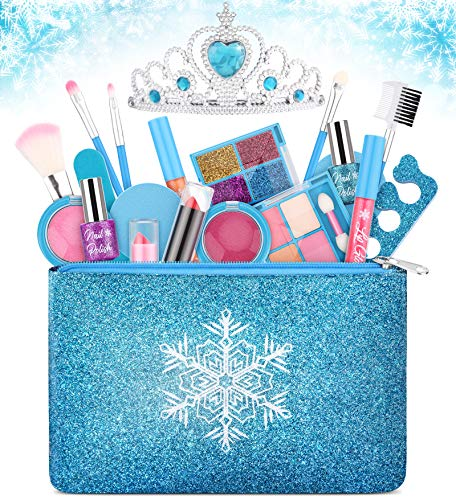 Kids Makeup Kit for Girls, Washable Real Makeup Set for Little Girls, Princess Frozen Toys for Girls Toys for 4 5 6 7 8 9 Year Old, Kids Play Makeup Starter Kit Cosmetic Beauty Set Frozen Makeup Set