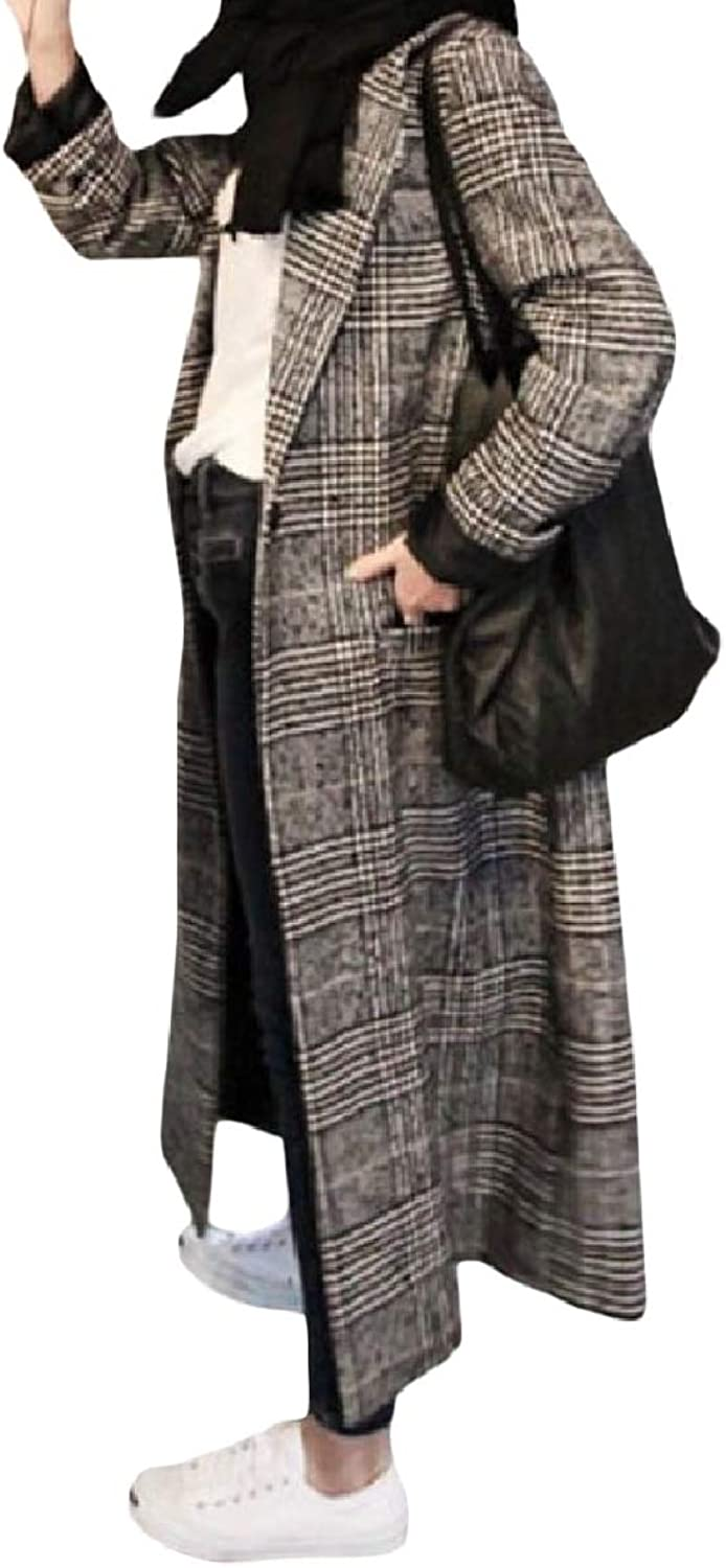 Winme Women's Lapel Fit Houndstooth Thickened Maxi Pocketed Woolen Overcoat