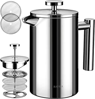BAYKA Stainless Steel French Press Double-Wall Coffee & Tea Maker, 21oz (600ml) with 2 Extra Filters, Rust-Free, Dishwasher Safe