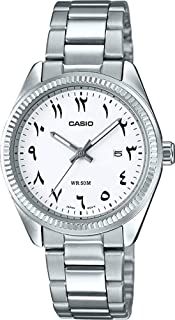 Casio Women's Quartz Watch, Analog Display and Stainless Steel Strap Ltp-1302D-7B3Vdf, Silver Band