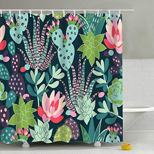 LEELFD Grüne Topfpflanzen Duschvorhang für Badezimmer Wasserdichter Druck Kaktus Sukkulenten Badevorhang mit 12 Haken Schimmelschutz 180X200CM F.