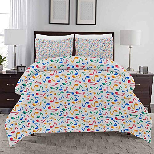 Music Duvet Cover Set Full Size Cute Musical Notes Melody Kids Beats Watercolor Radio Rhythm Vibes Artful Design Washable Quilt cover Decorative 3 Piece Bedding Set with 2 Pillow Shams Multicolor