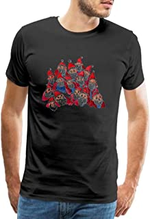 Men's Casual Tees Scary Santa Hand Painted Pattern Cotton T-Shirts