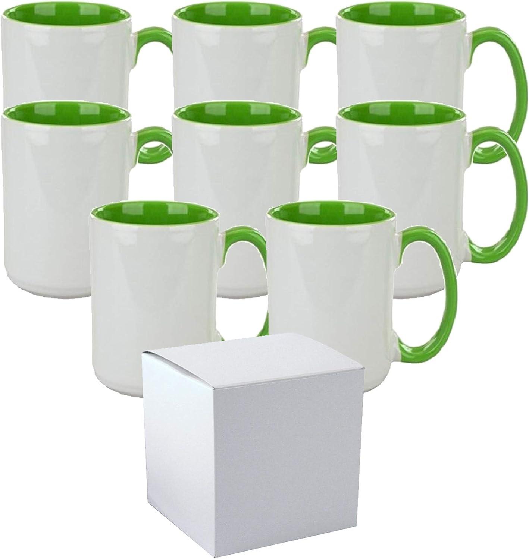 Set Of Max 70% OFF 8 15 oz. El Grande OFFicial shop Sublimation L Mug Inner Ceramic Handle