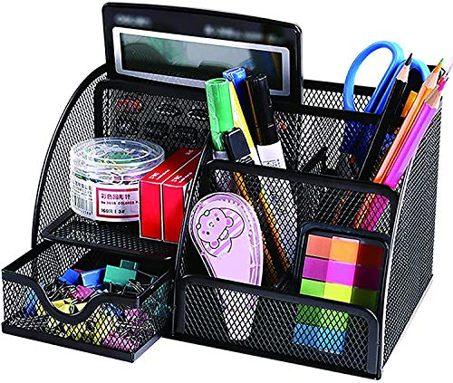 Desk Organizer, Saving Desktop Space,7-Compartment Multifunctional Pen Holder, Used to Store Stationery in Office, Home, School, Classroom (Black 1)