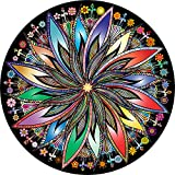 Bgraamiens Puzzle-Blooming Flowers-1000 Pieces Creative Geometric Round Blue Board Colorful Mandala Jigsaw Puzzle