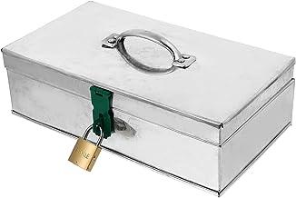 Cabilock Caixa de ferramentas de aço portátil com trava de chave, caixa de ferramentas com alça de metal para dinheiro, ar...