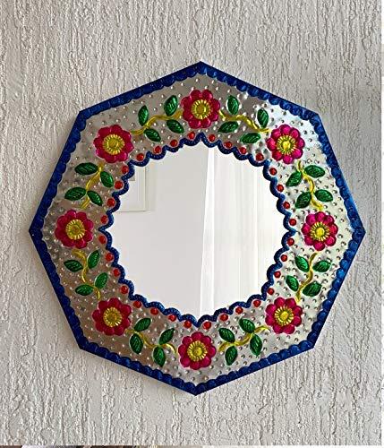 Casa Fiesta Designs - Espejo de Pared de Metal con Relieve, decoración Mexicana para el hogar, Hecho a Mano, Espejo, Octogonal