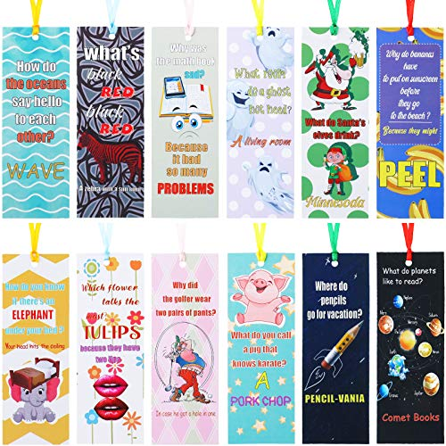60 Pieces Silly Jokes Bookmarks Cartoon Hilarious Page Markers Funny Reading Bookmarks for Teachers Students Readers Classroom Rewards Supplies,12 Styles