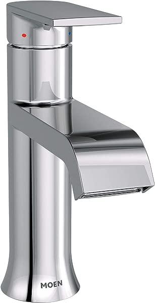 Moen 6702 Genta One Handle Single Hole Modern Bathroom Sink Faucet With Optional Deckplate Chrome