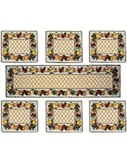 Samaaya 6 Table Mats with 1 Table Runner Beautiful Easy to Wash Jacquard Linen Fabric Dinning Table Mats (13 x 18) with Runner (13 x 54) (Basket), Multicolor (Set of 7 Pieces)