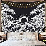 Dremisland Wandteppich Mandala Wandtuch Große Welle Kanagawa Wandbehang mit Sonnenuntergang Wandteppich Schwarz und Weiß Ozean Tapisserie für Wohnzimmer Schlafzimmer