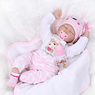 22inch Reborn Baby Dolls Silicone Girls Sleeping Soft Vinyl Newborn Toddlers Realistic Eyes Closed Magnetic Toys (Chloe)