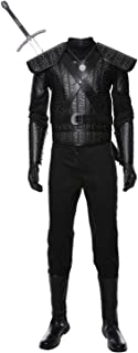 Halloween White Wolf Geralt Cosplay Costume Uniform Full Set Outfit Jacket (Male-L, Black)