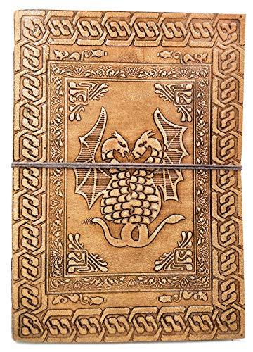 Kooly Zen – Taccuino, blocco note, diario, libro, doppio drago, vera pelle, vintage, marrone chiaro – beige, 17,5 cm x 25 cm carta riciclata premium