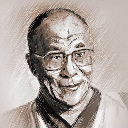 Posterlounge Leinwandbild 40 x 40 cm: Dalai Lama von Christine Ganz - fertiges Wandbild, Bild auf Keilrahmen, Fertigbild auf echter Leinwand, Leinwanddruck