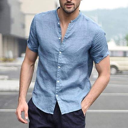 CSDM Camisa de Hombre Casual Hombre Tops Camisa Lisa Social ...