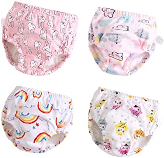 U0U 4 Pack Toddler Potty Training Pants Layered Cotton Training Underwear for Toddlers Girls Boys