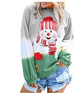 Christmas Women Shirts Snowman Long Sleeve Fashion Print Tshirt Elk O-Neck Blouse Casual Winter Sweatshirts Tops 5XL