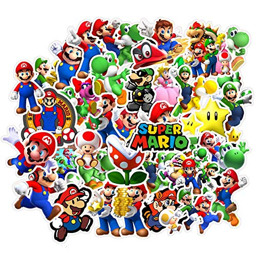 Super Mario Bros Stickers, Vinyl Sticker for Laptop Water Bottle Guitar Bike Car Motorcycle Bumper Luggage Skateboard Graffiti, Cute Decals, Best Gift for Kids,Children,Teen