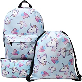 Hellathund Unicorn Backpack 3pcs/set Print Rainbow Unicorn Backpack School College Bag for Teens Unisex Students