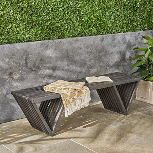 Christopher Knight Home 305723 Esme Outdoor Acacia Wood Bench, Dark Gray Finish
