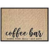 New Mungo Coffee Bar Mat - Coffee Bar Decor for Coffee Station - Coffee Bar Accessories for Coffee Decor - Brewed Fresh Daily Self Serve Coffee Mat - Burlap Placemat with Fabric Backing - 20