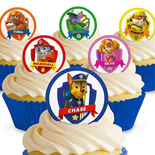 Cakeshop 12 x Vorgeschnittene und Essbare Paw Patrol Kuchen Topper (Tortenaufleger, Bedruckte Oblaten, Oblatenaufleger)