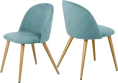VEESYV Modern Velvet Dining Chairs Leisure Side Chairs Metal Legs Living Room (Color : Green)
