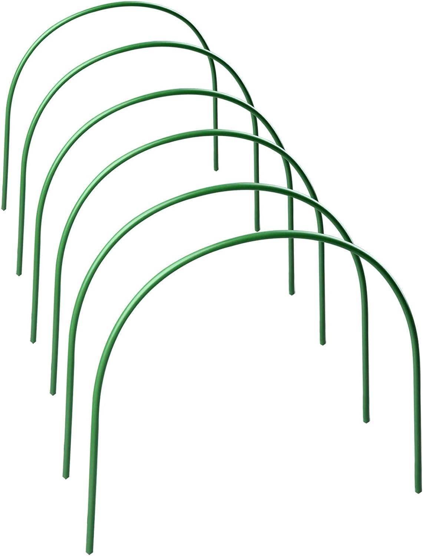 Cozyhoma Lot de 6 cerceaux de Serre 1,2 m avec rev/êtement en Plastique pour piquets de Jardin Vert