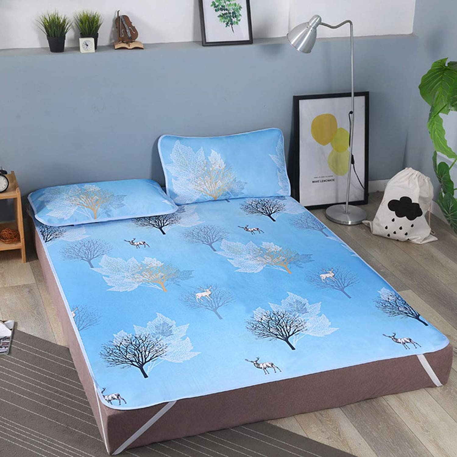 Summer Mattress, Three-Piece, Foldable Washable Printed Ice Silk Non-Slip Summer Cool Sleeping Mat, Suitable for Home, Dormitory, Gift D 1.8X2m