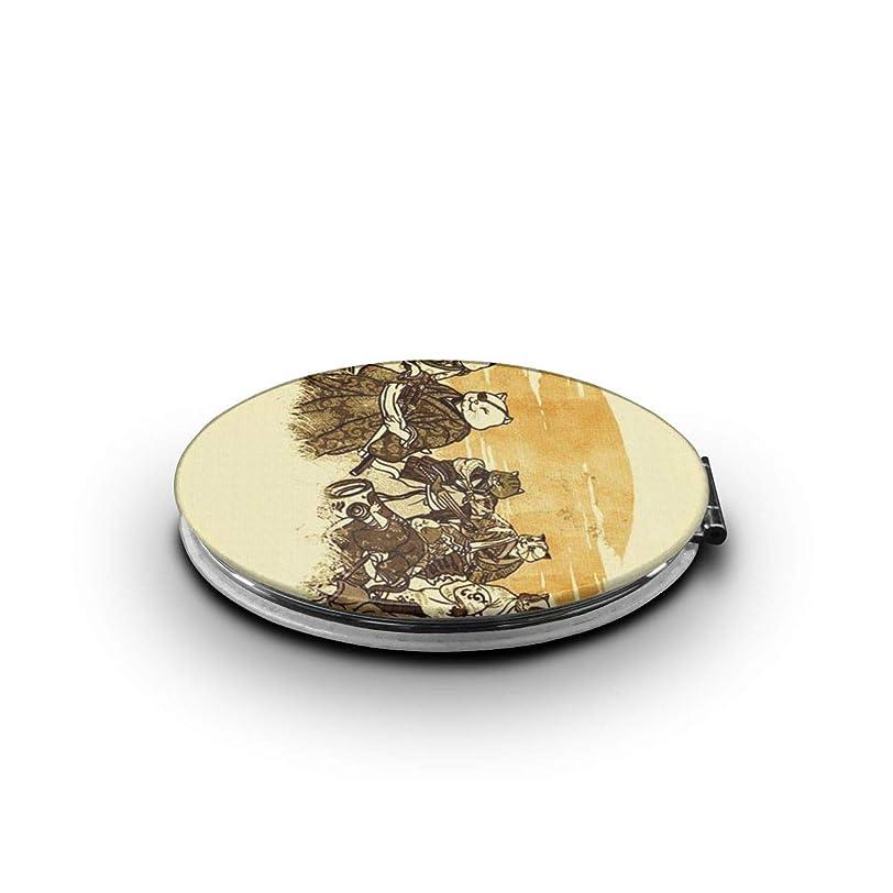 ブラザータイルシチリア携帯ミラー 猫の侍ミニ化粧鏡 化粧鏡 3倍拡大鏡+等倍鏡 両面化粧鏡 楕円形 携帯型 折り畳み式 コンパクト鏡 外出に 持ち運び便利 超軽量 おしゃれ 9.0X6.6CM