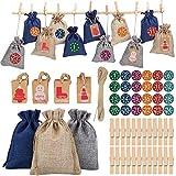 EXCEED Calendario Adviento Navidad, Bolsas Sacos, Bolsas de Dulces de Regalo, Decoraciones Navideñas para La Oficina en el Hogar de Pared (24 Piezas)