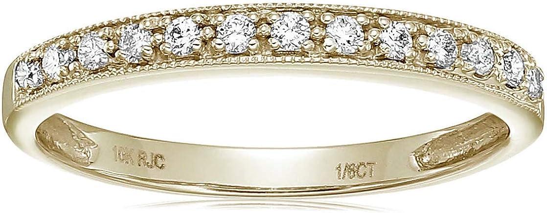 Vir Jewels 1/6 cttw Petite Diamond Wedding Band in 10K Yellow Gold with Milgrain